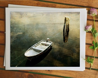 Sea photo, Scandinavian nature photography, photo painting, boat in the sky, modern home decor, travel photography, 5x7 image