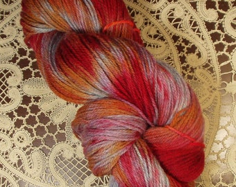 Hand Dyed Wool Yarn ,Sport Weight , Red Pink Blue  Rusty Red Colors
