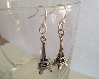 Paris Dream - Eiffel Tower Silverplated Earrings, Paris Lover Earrings, Eiffel Tower Earrings, Dangle Earrings, BFF Gift, Birthday Gift