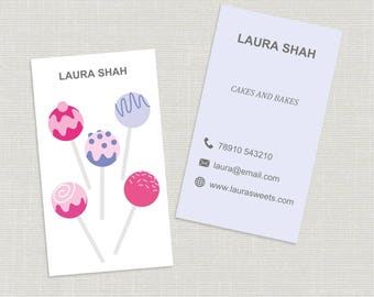 Printable stylish elegant cakes, bakery, cup pops design  business card, calling card in portrait