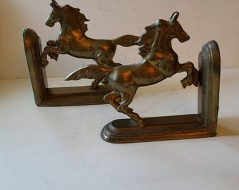 Reduced...Horse bookends, metal