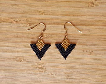 Loops Tika black gold plated and glass Miyuki beads weaving