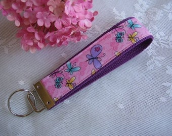Butterfly Fabric Key Fob Wristlet Key Chain