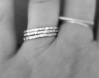 Bark stacking ring,made to order in your size,sterling silver stacking ring,textured ring,hand stamped ring,edgy stacker,textured stacker