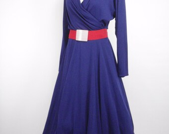 1980s does 1950s Toni Todd Royal Blue Rockabilly Dress, Vintage Dress, 1980s dress, 1950s dress, Toni Todd Dress Pinup Dress, 1950s, 1980s,