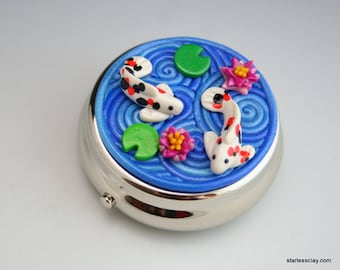 Koi Pond Pill Box in Polymer Clay Filigree