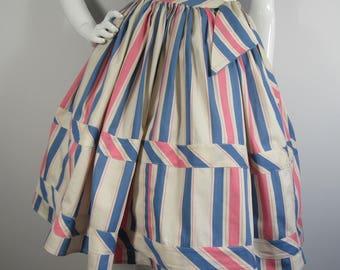 1950's GRETA PALLTRY Candy Stripe, Full Circle Skirt - UK 8/10, 50's Rockabilly Full Skirt, Summer, Spring, Pink, Blue