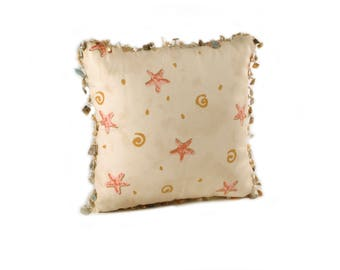 Pink Starfish Pattern Square Pillow with a Seashell Trim