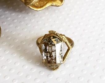 Handmade jewelry. Swarovski crystal ring. Swarovski crystal brass ring. Wire wrapped ring. Chic. Sugarplum Gallery.