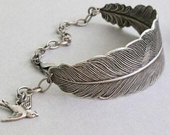 Silver Feather Bracelet, Feather Cuff Bracelet, Antique Silver, Large Feather Bracelet