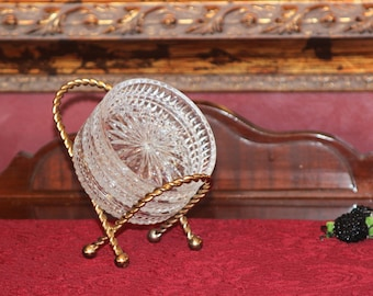 Set of 3f Crystal Drink Coasters with Gold Tone Stand - Twisted Gold Coaster Stand