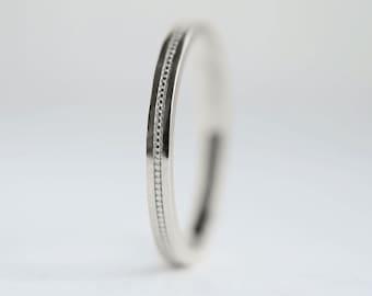 2mm Milgrain White Gold Wedding Band   2mm Milgrain Platinum Wedding Ring   Women's Flat Edge White Gold Ring 2mm x 1.3mm thick