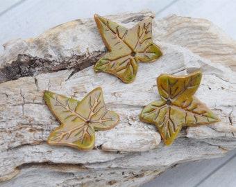 unique set, 3 leaf Ivy, green, modeled in cold porcelain, handmade