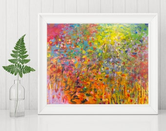 Abstract Art Print - Abstract Printable Art - Abstract Expressionist Art - Instant Download - Rainbow Colors - Abstract Landscape 8x10 11x14