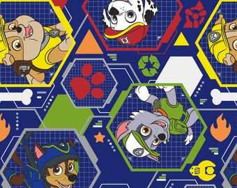 Paw Patrol, Mission Pawsible!  Rescue Stack Cotton fabric, on blue, half yard