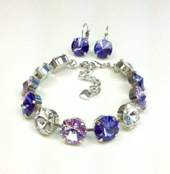 "Swarovski Crystal 12MM Bracelet & Earrings  -  Designer Inspired -""Purple Passions"" - Beautiful-  FREE SHIPPING"