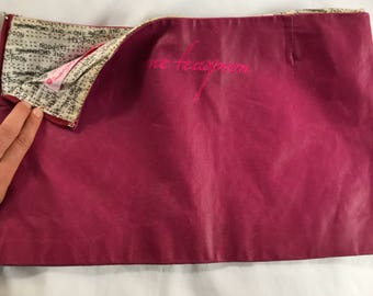 Pink leather one teaspoon festival skirt low waist and short fit size 8 marked a 10