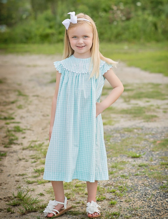 Girls Monogrammed Dress, Seafoam Gingham Perfect for Family Beach Photos