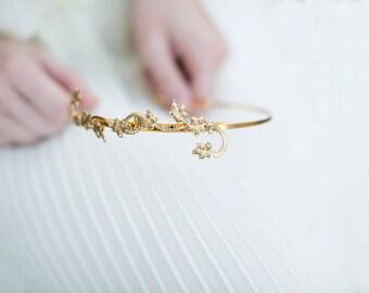 Lily Vine Bridal Headband - wedding headband, flower girl, wedding hair accessories, hair piece, crown, bridal hair piece, hair vine, gold