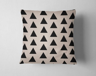 Simple black and tan geometric triangle throw pillow