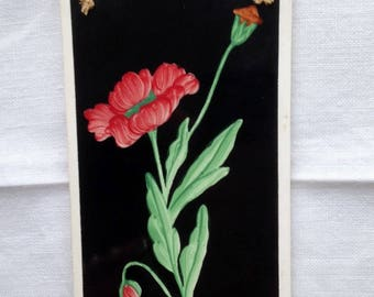 Vintage Wall Decoration / Handpainted tile / Flower / 1950's