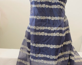 """1950's Vintage Sheer Fabulous Flocked Cream and Yellow Striped Flowers Pattern on Dark Blue Nylon Chiffon Fabric 3 Yards 17"""" by 48"""" wide"""