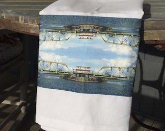White Cotton & Linen Tea Towel - Topsail Island Swing Bridge