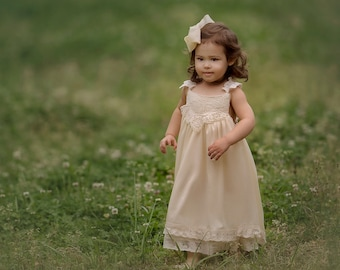 The Grace - Ivory, chiffon, lace, Flower Girl Dress, girls toddler dress, ages 1T, 2T,3T,4T, 5T, 6, 7, 8, 9/10, 11/12