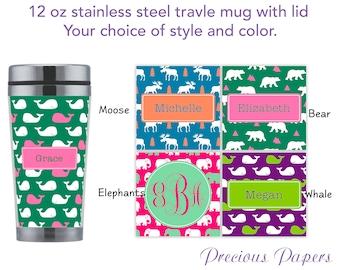 Personalized travel mug with lid - elephant travel mug, elephant coffee cup, moose travel mug, moose coffee cup preppy whale travel mug