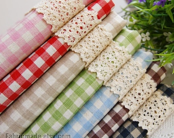 Basic Plaid Linen Fabric Bundle Plaid Bundle Fabric Linen Cotton- Fat Quarter Bundle, 7 Fat Quarters Sets