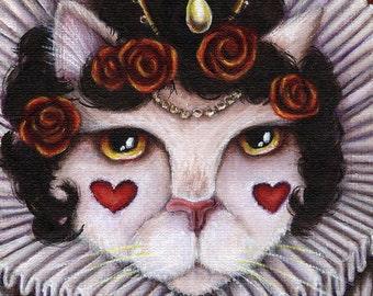Queen of Hearts Cat, Through the Looking Glass, Alice in Wonderland Cat Art 5x7