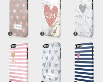 Personalised Heart Marble Printed Glitter Initials Custom Phone Case For Iphone & Samsung 3D Full Wrap Hard Cover Gift