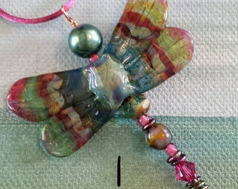 Glass Dragonfly Lampwork Pendant by Helen's Harvest