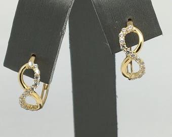 14K Yellow Gold CZ Infinity Sign Hoop Earrings