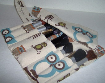 Makeup Cosmetic Brushes Roll, Large Owls