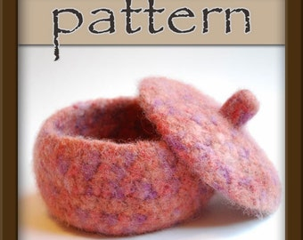 PATTERN Felted Wool Jar / Bowl with lid - crochet PDF No. 102