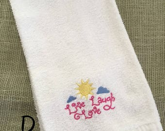 Embroidered Live, Laugh, Love (Pastel) Hand Towel