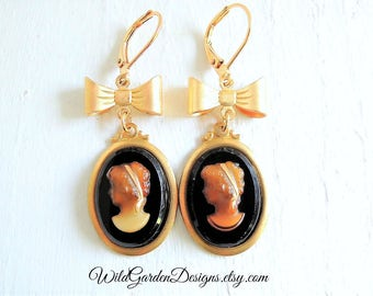 Jane Austen Style Cameo Earrings Vintage Inspired Tortoise Shell Glass Cameo Gold Bow Earrings Gift For Her Romantic Gift Under Thirty