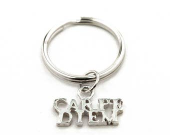 Carpe Diem Sterling Silver Key Ring