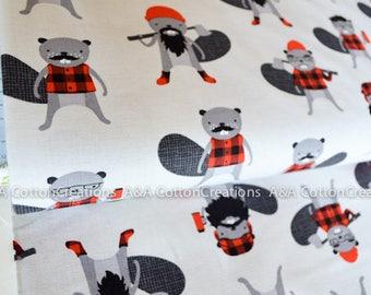 Quilting Cotton, Burly Beavers Fabric, Red Grey Fabric, Hipster fabric, Boy Fabric, by yardage