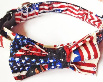 American Flag Patriotic Collar with Bow Tie for Male Dogs and Cats