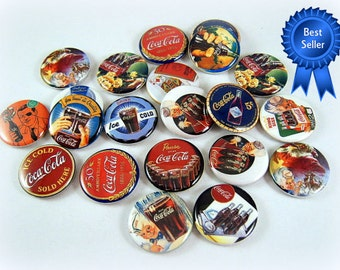 Vintage Coke Magnets, Coke Pins, Coke Flatbacks, Coca Cola Magnets, Coca Cola Pins, Retro Coke Magnets, 12 Ct. Set A