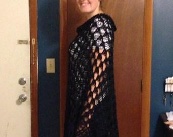 Poncho, enveloppements, châles, Extra long, Crochet, noir