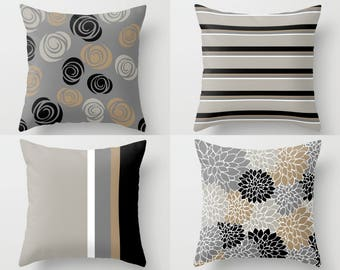 Outdoor Pillows, Neutral taupe grey black, Outdoor Home Decor, Outdoor Throw Pillows