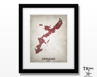 Okinawa Map Art Print - Home Is Where The Heart Is Love Map - Original Custom Map Art Print Available in Multiple Sizes & Colors