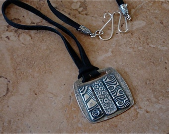 Tri-Textures Pendant-PMC Silver-Leather Cord-Handmade Sterling Clasp