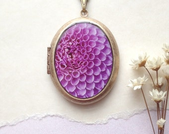 Purple Dahlia Locket - Secret Garden Collection - Floral Photo Necklace - Macro Photography