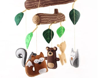Woodland Mobile Sewing Pattern, DIY Woodland Nursery Mobile, Sew by Hand a Felt Crib Mobile, Woodland Forest Baby Mobile, Nursery Decor PDF