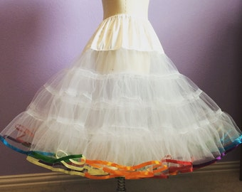 Rainbow ribbon trim petticoat 4 LAYERS very full and fluffy vintage style petticoat