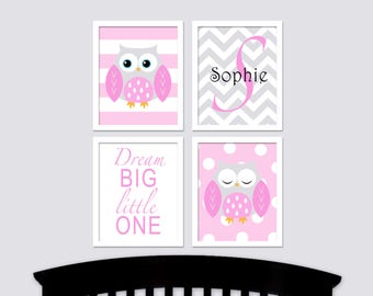 Baby Owls Nursery Art with Name